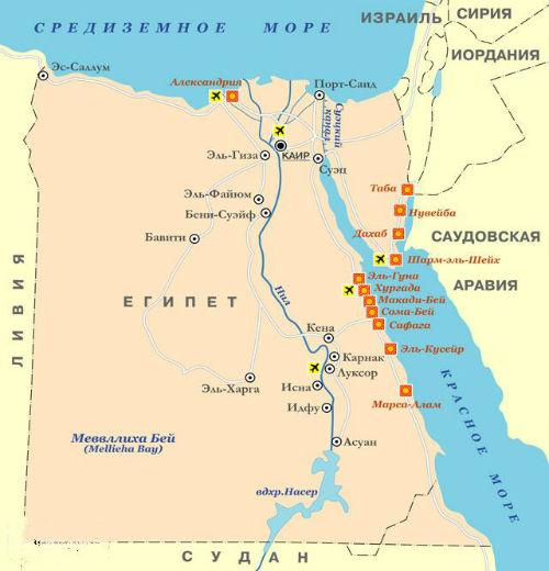 Karta Egipta Egipet