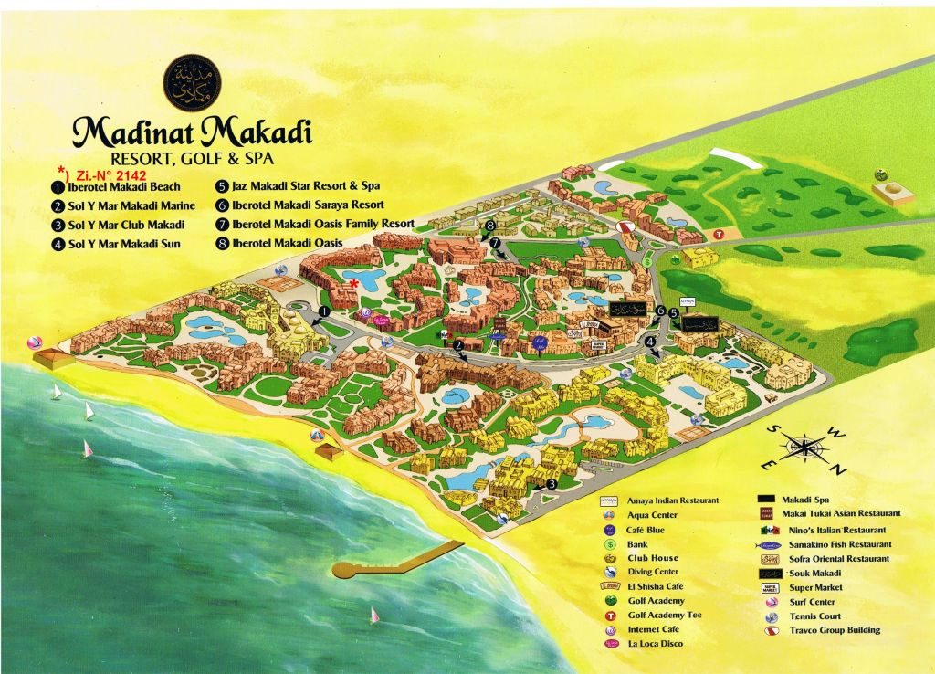 Схема MADINAT MAKADI RESORT GOLF & SPA отеля Jaz Makadi Oasis 4*  (Джаз Макади Оазис)