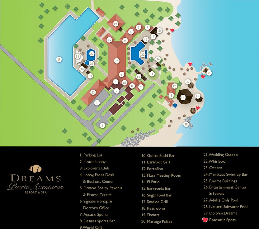 План отеля Dreams Puerto Aventuras Resort & Spa 5*